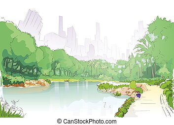 green park in city center pond trees and road path sketch...
