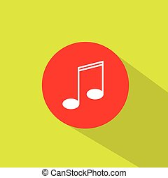 music note icon flat design vector