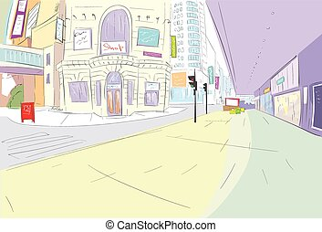 street city view draw sketch shops colorful buildings,...
