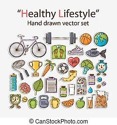 Healthy lifestyle sticker set