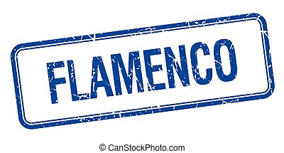 flamenco blue square grungy vintage isolated stamp