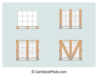 Crate mounted on a pallet. Vector illustration. EPS 10....