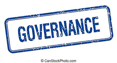 governance blue square grungy vintage isolated stamp