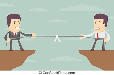 Abstract Businessmen Tug of war on a cliff Vector...