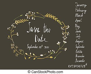 Rustic Wreath Save the Date Invitation Card with Inky...