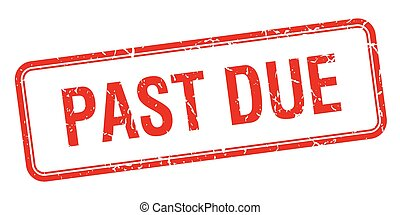 past due red square grungy vintage isolated stamp