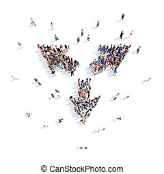 People in the form of arrows - Large group of people in the...
