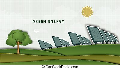 solar panels, batteries, on clean field. concept of clean...