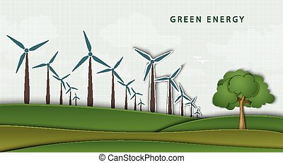 wind turbines on a clean field concept of clean energy