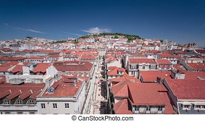 View from the Elevador de Santa Justa to the old part of Lisbon timelapse