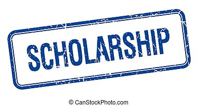 scholarship blue square grungy vintage isolated stamp