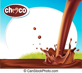 vector design frame with chocolate splash and green grass