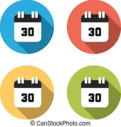 Collection of 4 isolated flat buttons (icons) for number 30...