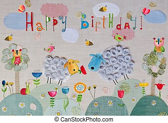 Birthday greeting card - Colorful artistic illustration for...
