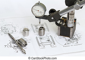 Drawing and measuring tools. - Micrometer and machine parts...