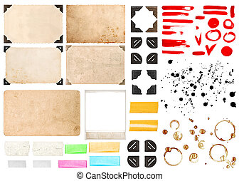 Vintage photo frames with corners, tape strips, stains and strok