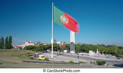 Big Portuguese flag on top of the Eduardo VII Park in Lisbon...