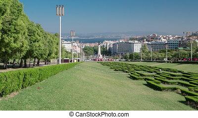 Eduardo VII park and gardens in Lisbon, Portugal timelapse...
