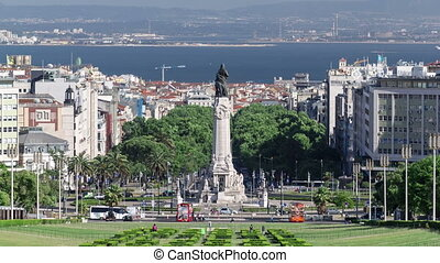 Eduardo VII park and gardens with monument in Lisbon,...