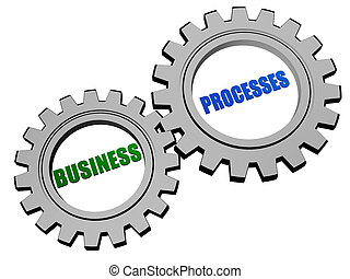 business processes in silver grey gears - business processes...