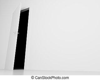 door into darkness view - white door into darkness