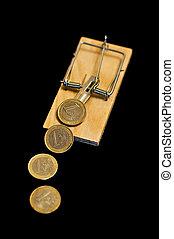 Euros on mouse trap