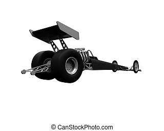 Dragster isolated back view 01 - isolated dragster on white...