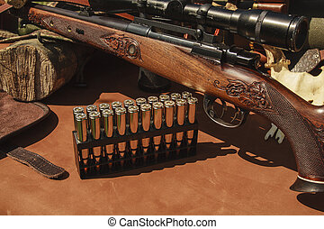 Ammunition and rifle - rifle and ammunition on the skin