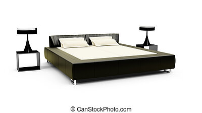 Double bed against white - isolated double bed against white...