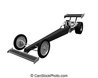 Dragster isolated front view 01 - isolated dragster on white...