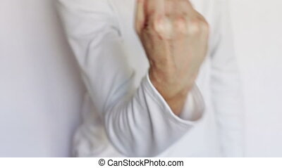 Man shows gestures and signs with his hands. - Gestures and...