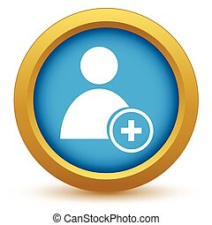 Gold add user icon on a white background. Vector...