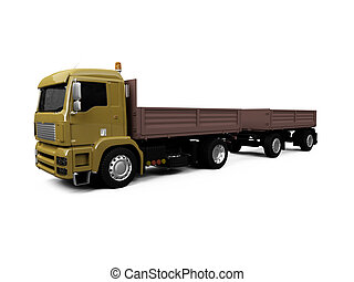 long dump truck on white background - isolated long dump...