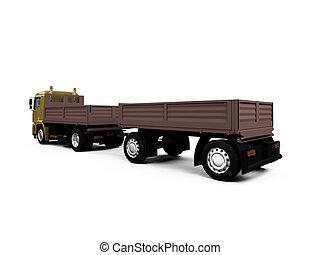long dump truck on white background