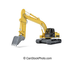 excavator front view - isolated excavator over white