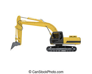 excavator side view - isolated excavator over white