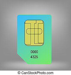 Sim Card - Green Blue Sim Card Isolated on Grey Background.