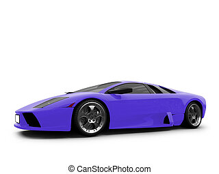 Ferrari isolated blue front view - isolated sport car on...