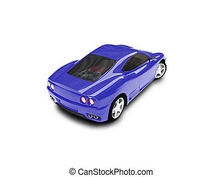 isolated blue super car back view 03 - blue super car on a...