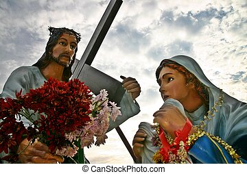 Statues of Jesus Christ and Saint Veronica - Statues of...