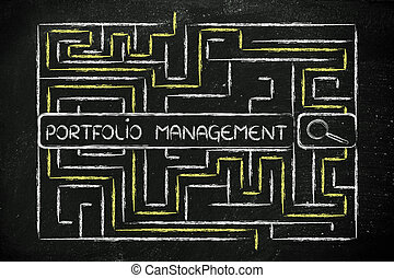 maze with search tags about portfolio management - search...