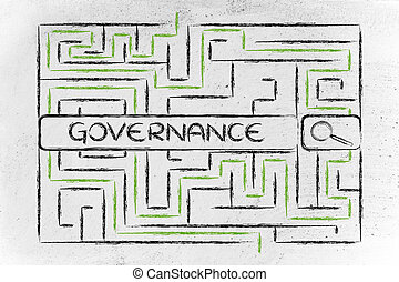 maze with search tags about business governance - search bar...
