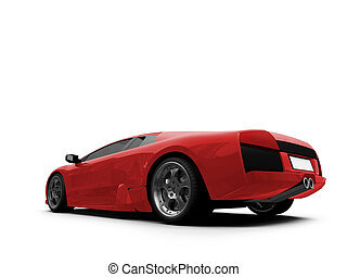 Ferrari isolated red back view - isolated sport car on white...