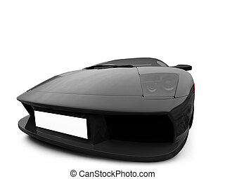 Ferrari isolated front view - isolated sport car on white...