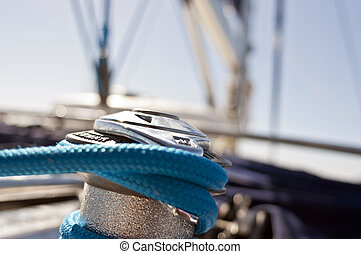 winch - yacht winch on the deck of a sailing yacht