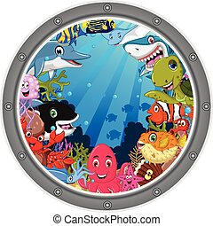 sea life cartoon set