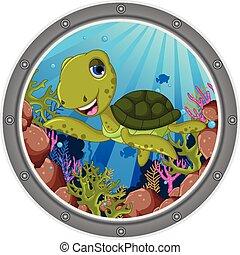 sea turtle cartoon - vector illustration of sea turtle...