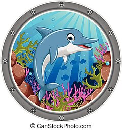 cute dolphin cartoon jumping - vector illustration of cute...