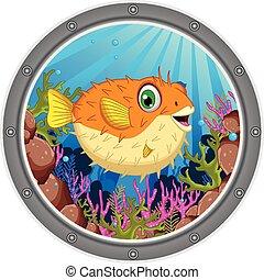 cute Blow fish cartoon - vector illustration of cute Blow...