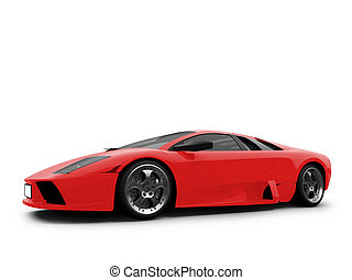 Ferrari isolated red front view - isolated sport car on...